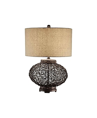 Aurora Lighting 1-Light Incandescent Table Lamp - Brown Wicker (STL-CST019124)