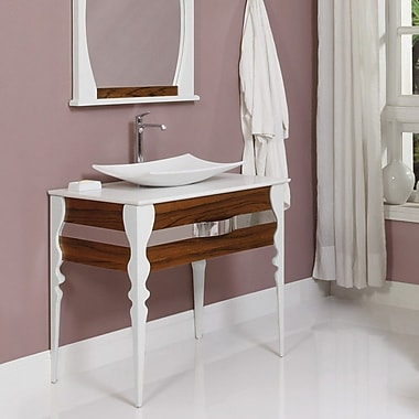 DecoLav Natasha 37'' Single Bathroom Vanity Set; Black Limba / White Gloss
