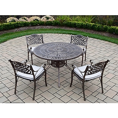 Oakland Living Sunray Mississippi 5 Piece Dining Set w/ Cushions; Standard - White