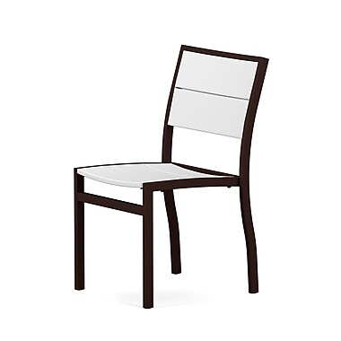 POLYWOOD Metro? Stacking Patio Dining Chair; Textured Bronze / White