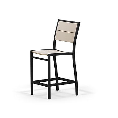 POLYWOOD Metro? Stacking Patio Dining Chair; Textured Black / Sand
