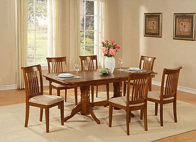 East West Napoleon 7 Piece Dining Set; Upholstered