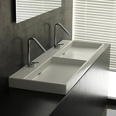 WS Bath Collections Ceramica I Urban Ceramic Ceramic Rectangular Vessel Bathroom Sink w/ Overflow
