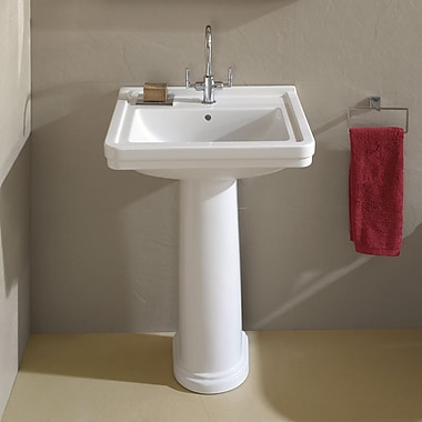 Bissonnet Universal Ceramic 24'' Pedestal Bathroom Sink w/ Overflow