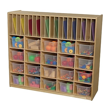 Wood Designs 30 Compartment Cubby w/ Trays; Translucent