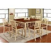 Hokku Designs Carolina 9 Piece Counter Height Pub Dining Set; Cream White / Cherry