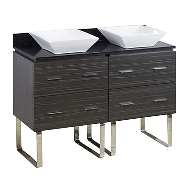American Imaginations 48'' Double Modern Bathroom Vanity Set; Chrome