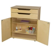 Wood Designs 3 Compartment Classroom Cabinet w/ Casters