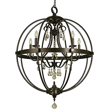 Framburg Compass 5-Light Foyer Pendant; Mahogany Bronze