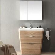 Fresca Milano 31.5'' Single Sink Modern Bathroom Vanity Set; White Oak