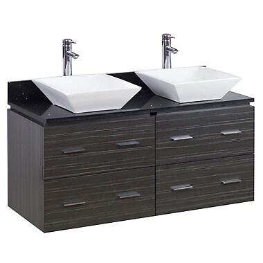 American Imaginations 48'' Double Modern Wall Mount Bathroom Vanity Set; Chrome