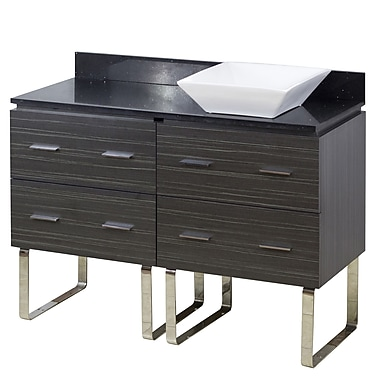 American Imaginations 48'' Single Modern Bathroom Vanity Set; Chrome