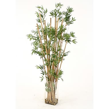 Distinctive Designs Waterlook Faux Leafy Bamboo in Tall Glass Vase
