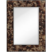 Majestic Mirror Modern Rectangle Crackled Mirror w/ Wenge Brown Edges