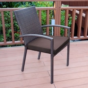 Jeco Inc. Stacking Patio Dining Chair w/ Cushion (Set of 6); Brown