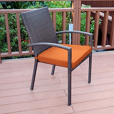 Jeco Inc. Stacking Patio Dining Chair w/ Cushion (Set of 6); Orange