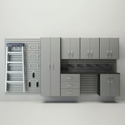 Flow Wall 6' H x 12' W  x 1.4' D 24 Piece Wall Storage and Cabinet Set; Silver / Silver