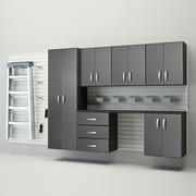 Flow Wall 6' H x 12' W  x 1.4' D 24 Piece Wall Storage and Cabinet Set; White / Silver Carbon