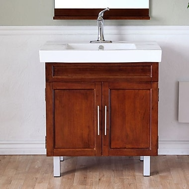Bellaterra Home Chapman 32'' Single Bathroom Vanity Set; Medium Walnut