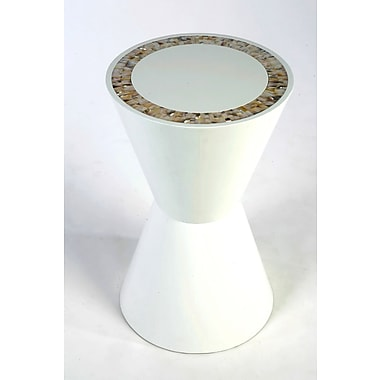 Indo Puri Double Cone End Table; White