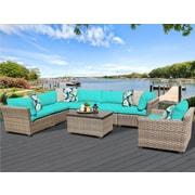TK Classics Monterey 8 Piece Sectional Seating Group w/ Cushion; Aruba