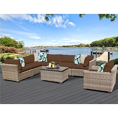 TK Classics Monterey 8 Piece Sectional Seating Group w/ Cushion; Cocoa