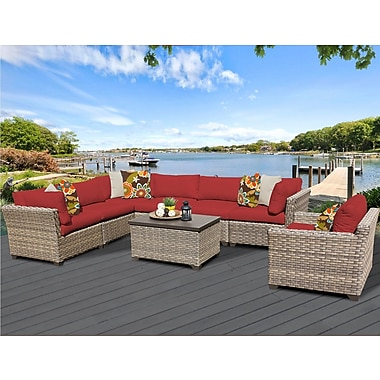 TK Classics Monterey 8 Piece Sectional Seating Group w/ Cushion; Terracotta