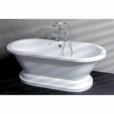 Kingston Brass Aqua Eden 67'' x 31.5'' Pedestal Double Bathtub