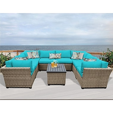 TK Classics Monterey 9 Piece Sectional Seating Group w/ Cushion; Aruba