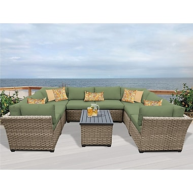 TK Classics Monterey 9 Piece Sectional Seating Group w/ Cushion; Cilantro
