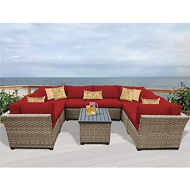 TK Classics Monterey 9 Piece Sectional Seating Group w/ Cushion; Terracotta