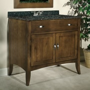 Kaco Metro 36'' Single Bathroom Vanity Set; Tan Brown Granite