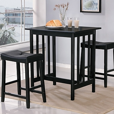 Woodhaven Hill Scottsdale 3 Piece Dining Set; Black