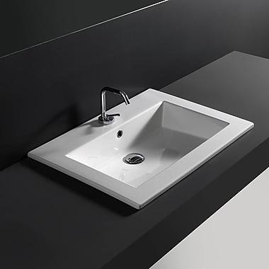 WS Bath Collections Ceramic Rectangular Drop-In Bathroom Sink w/ Overflow