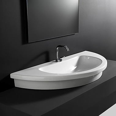 WS Bath Collections Kart Ceramic U-Shaped Vessel Bathroom Sink