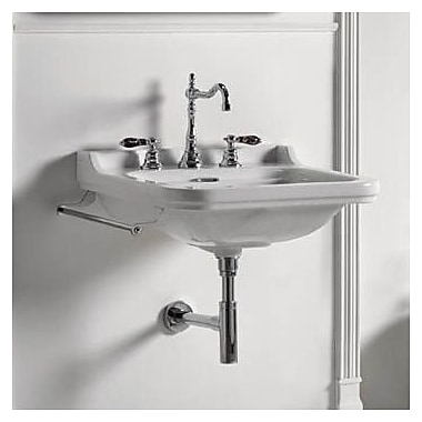 WS Bath Collections Waldorf Ceramic 32'' Wall Mount Bathroom Sink w/ Overflow; Three Faucet Holes