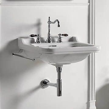 WS Bath Collections Waldorf Ceramic 32'' Wall Mount Bathroom Sink w/ Overflow; Single Hole