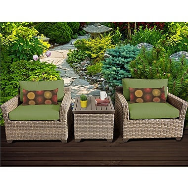 TK Classics Monterey 3 Piece Lounge Seating Group w/ Cushion; Cilantro