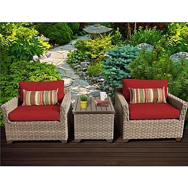 TK Classics Monterey 3 Piece Lounge Seating Group w/ Cushion; Terracotta