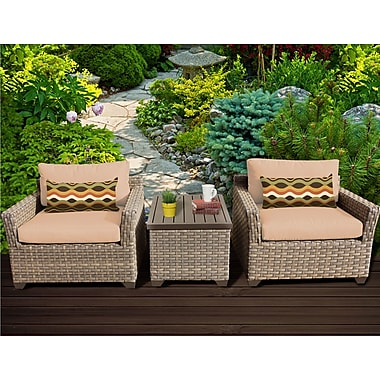 TK Classics Monterey 3 Piece Lounge Seating Group w/ Cushion; Wheat