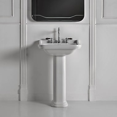 WS Bath Collections Waldorf Ceramic 23.6'' Pedestal Bathroom Sink w/ Overflow; One Faucet Hole