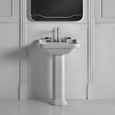 WS Bath Collections Waldorf Ceramic 23.6'' Pedestal Bathroom Sink w/ Overflow; Three Faucet Holes