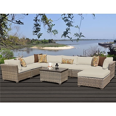 TK Classics Monterey 9 Piece Sectional Seating Group w/ Cushion; Beige