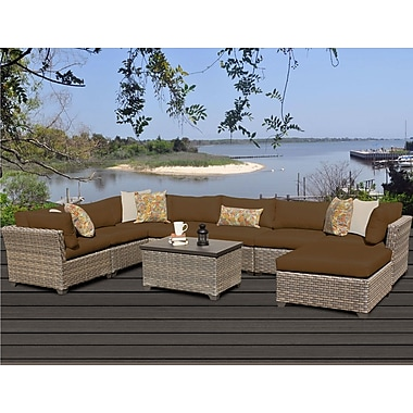 TK Classics Monterey 9 Piece Sectional Seating Group w/ Cushion; Cocoa