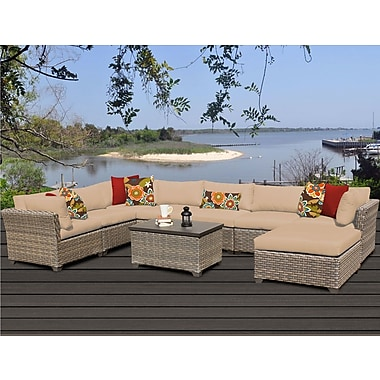 TK Classics Monterey 9 Piece Sectional Seating Group w/ Cushion; Wheat