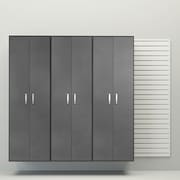 Flow Wall 72'' H x  96'' W x 17'' D 4 Piece Tall Cabinet Set; White / Silver Carbon
