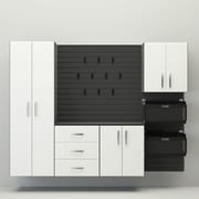 Flow Wall Deluxe 72'' H x 96'' W x 17'' D 6 Piece Cabinet Set; Black / White