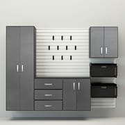 Flow Wall Deluxe 72'' H x 96'' W x 17'' D 6 Piece Cabinet Set; White / Silver Carbon