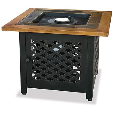 Uniflame LP Gas Outdoor Fire Pit w/ Slate and Faux Wood Mantel; 43''