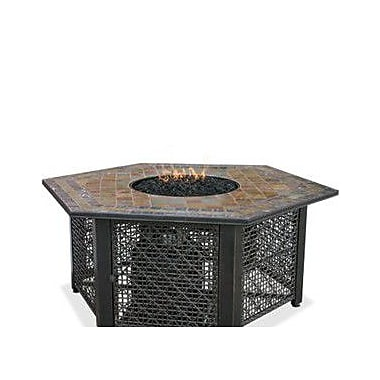 Uniflame LP Gas Outdoor Fire Pit w/ Slate Tile Mantel